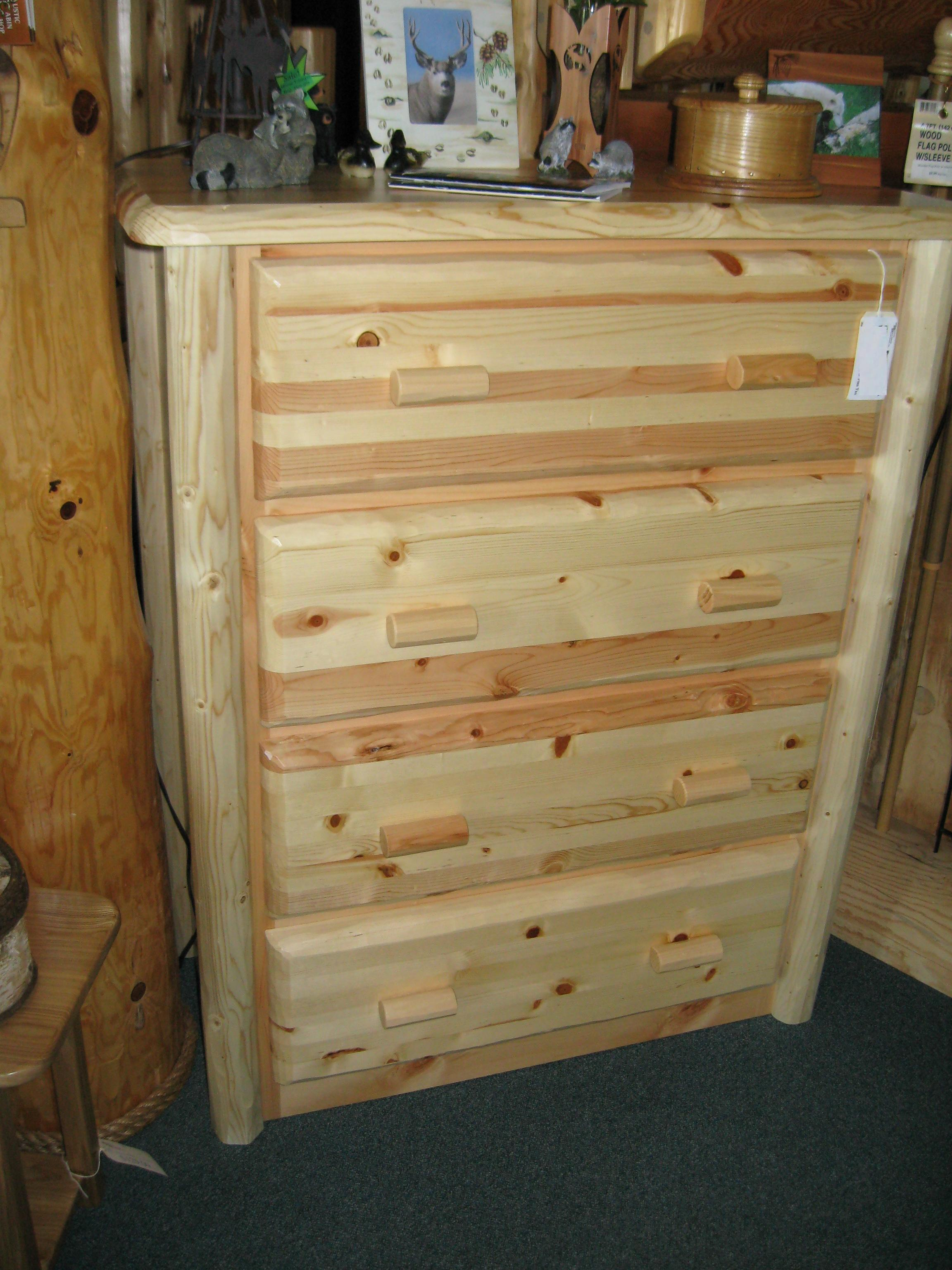 Pine Hewn 4 Drawer Chest