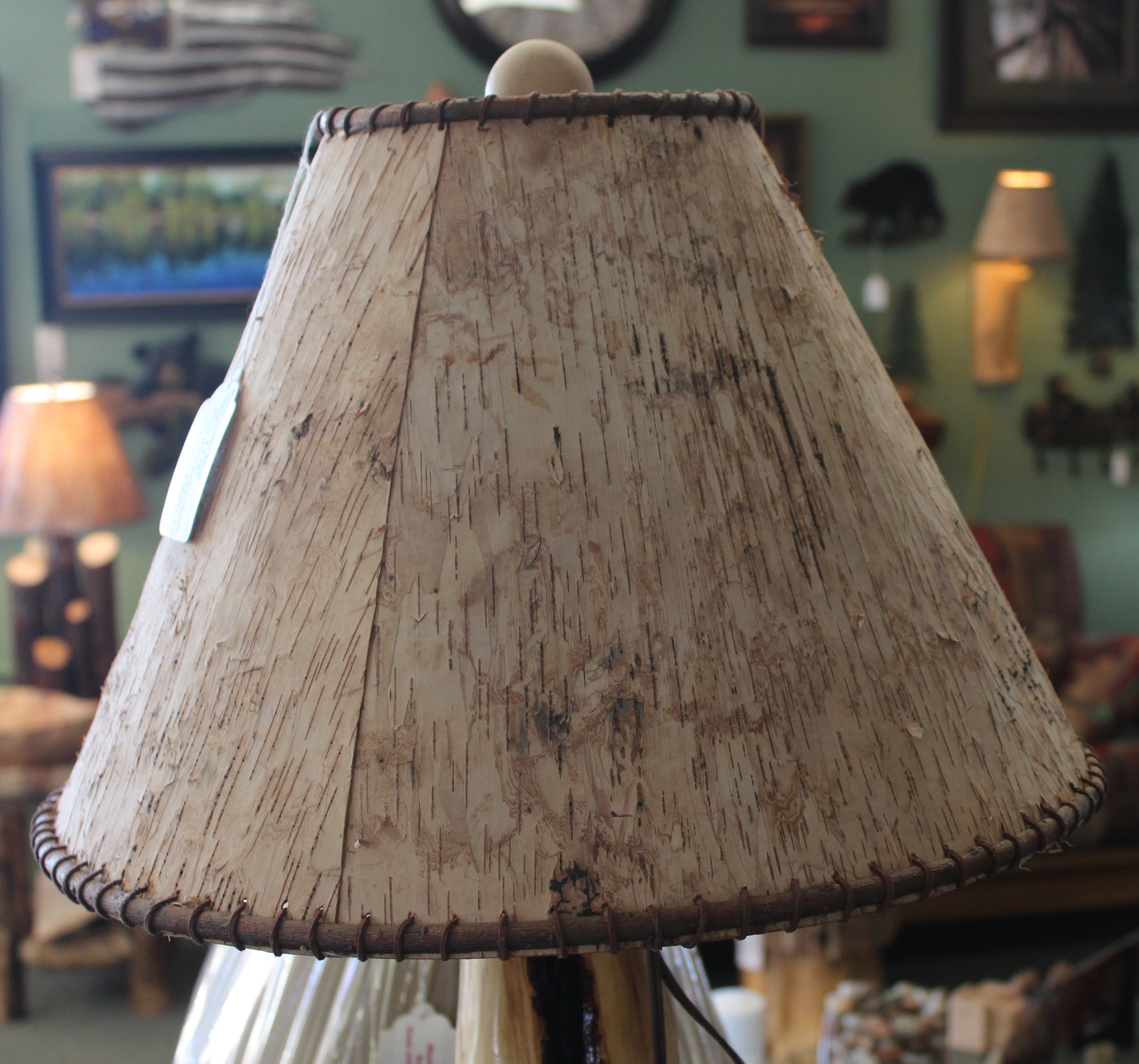 Birch bark lamp shade