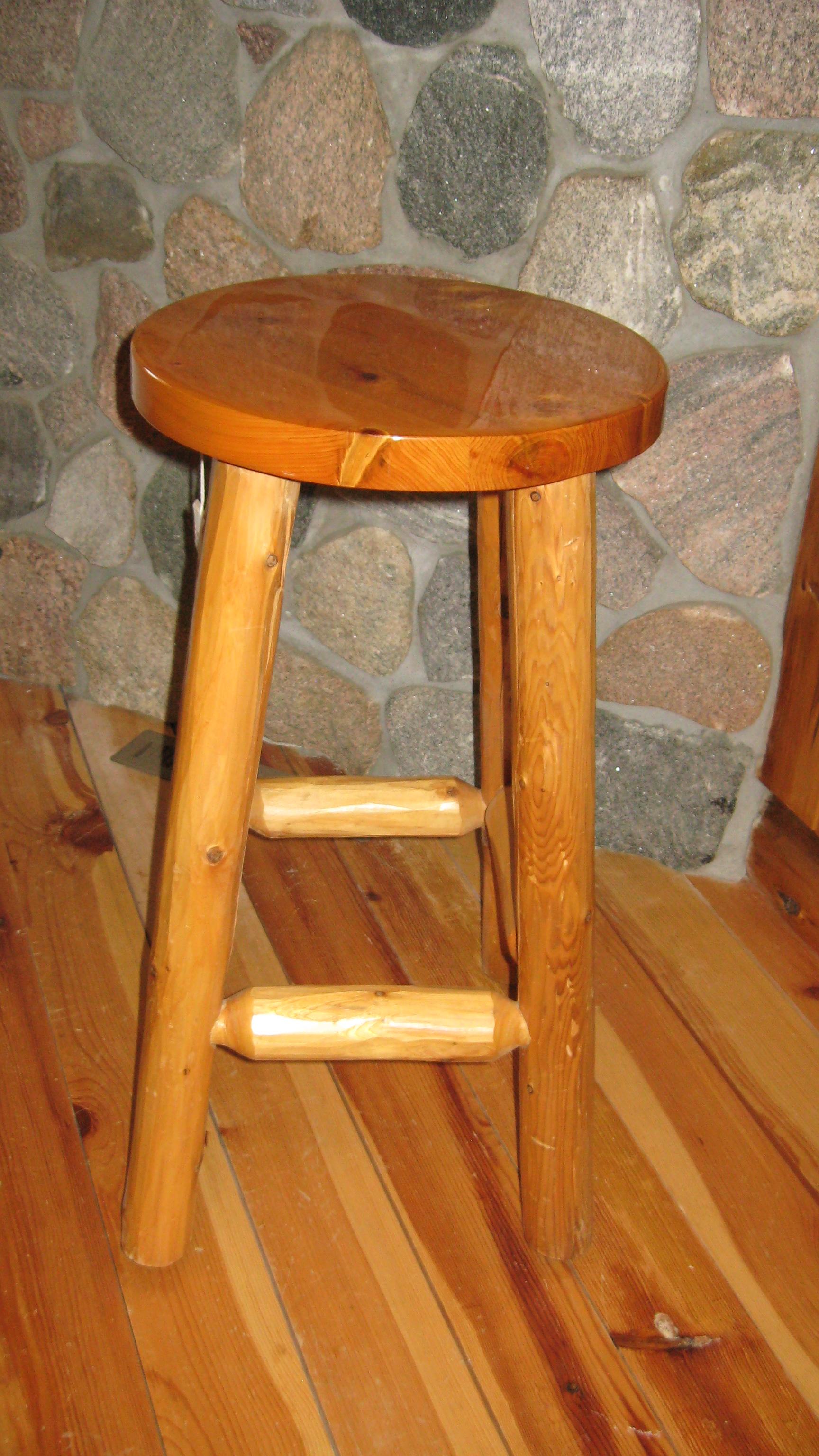 Cedar Bar Stool W Hewn Log Legs Rustic Cabin Shop