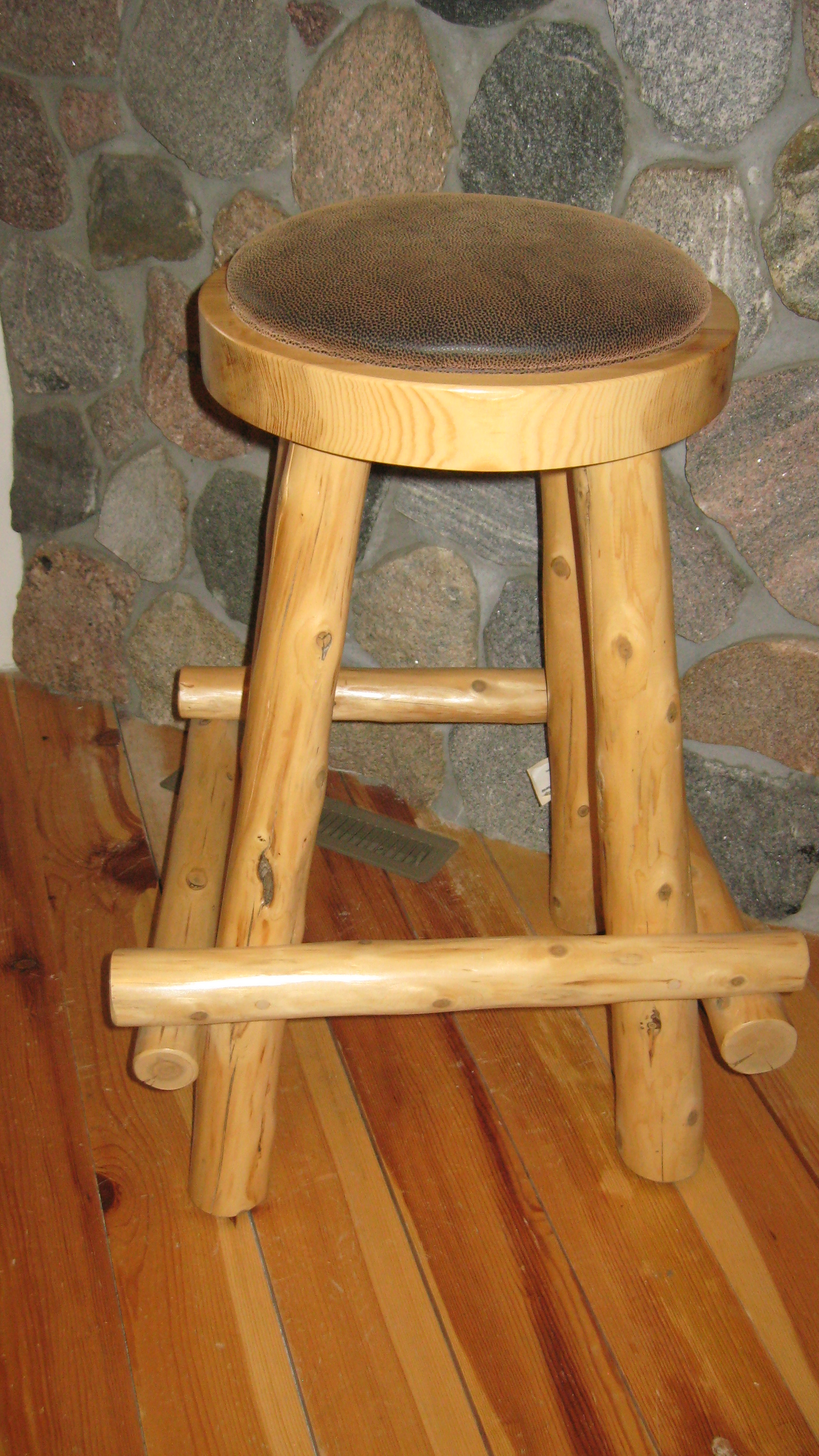 Pine Bar Stool W Padded Seat Rustic Cabin Shop